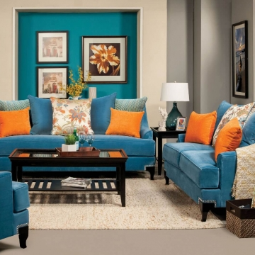Vincenzo Peacock Blue Sofa and Loveseat