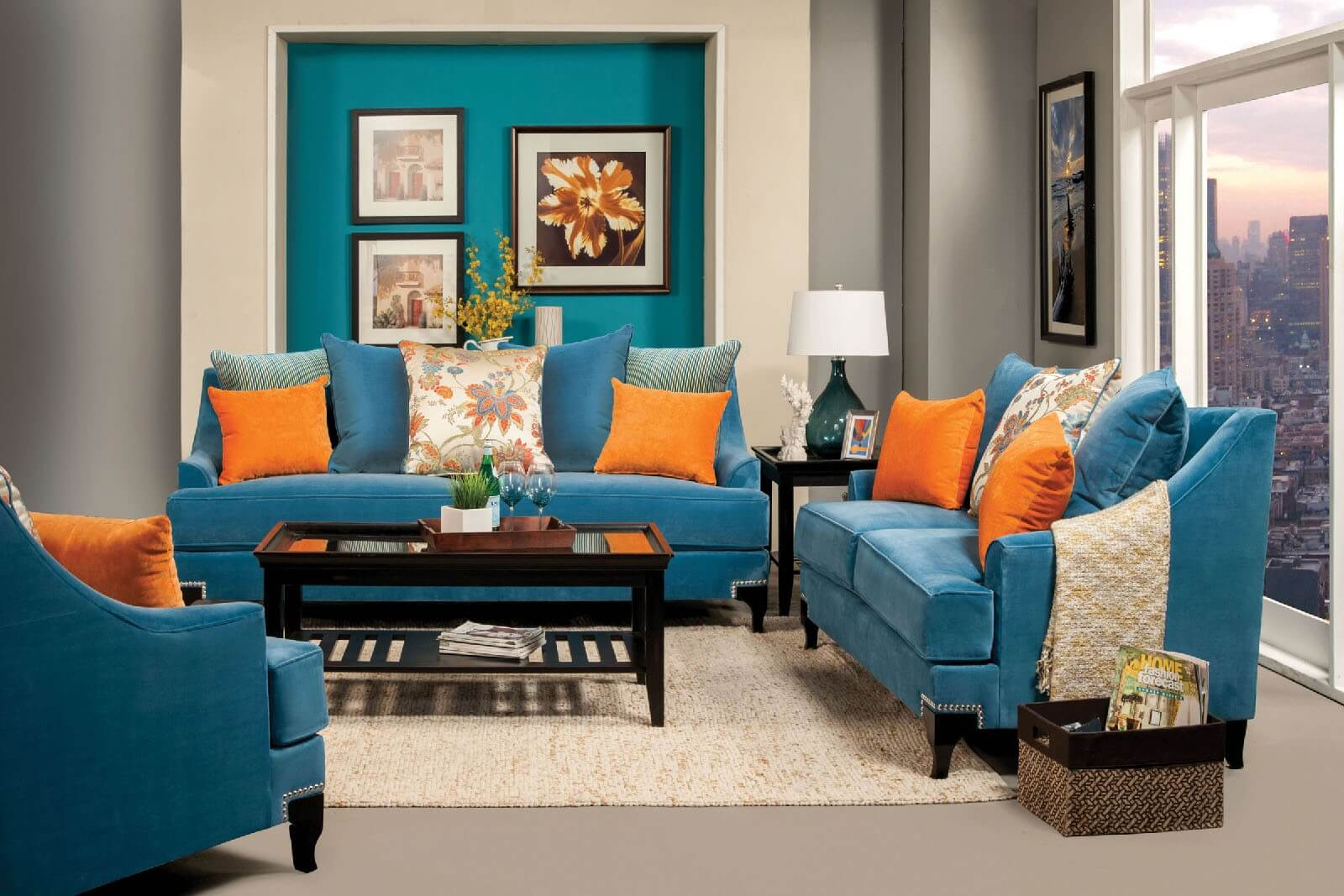 Vincenzo Peacock Blue Sofa And Loveseat Fabric Living