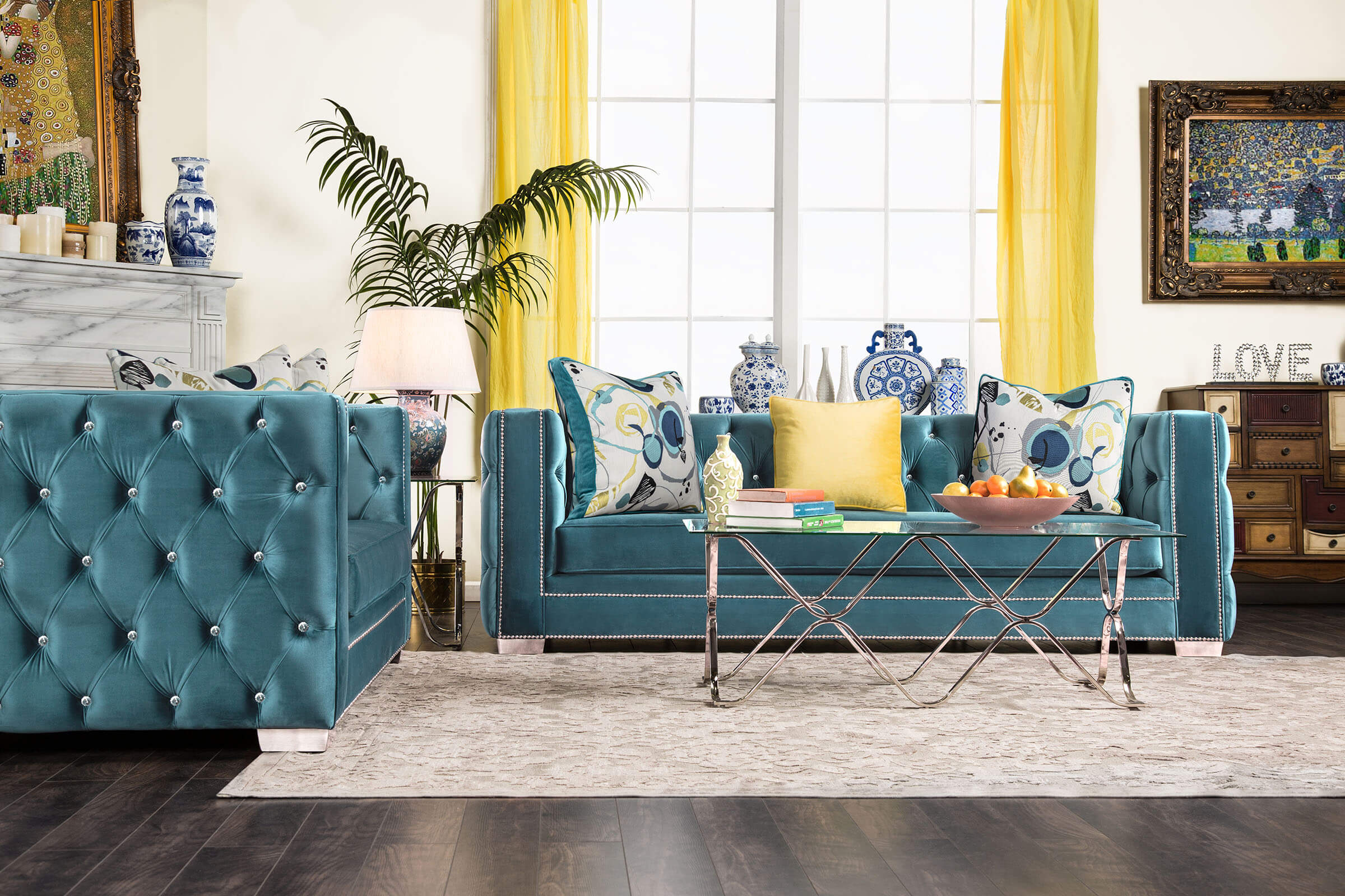 Salvatore Turquoise Sofa And Loveseat Fabric Living Room