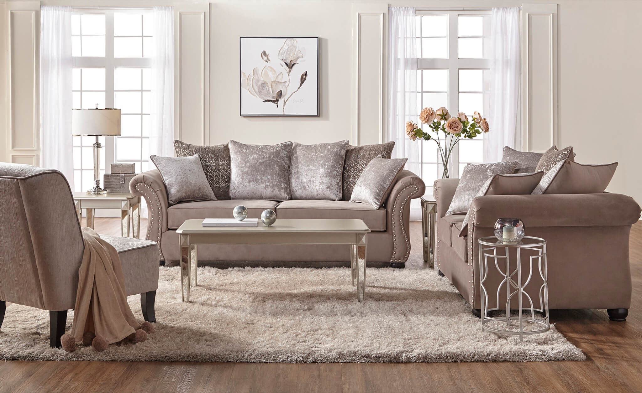 Living Room Furniture: Cosmo Putty Sofa And Loveseat
