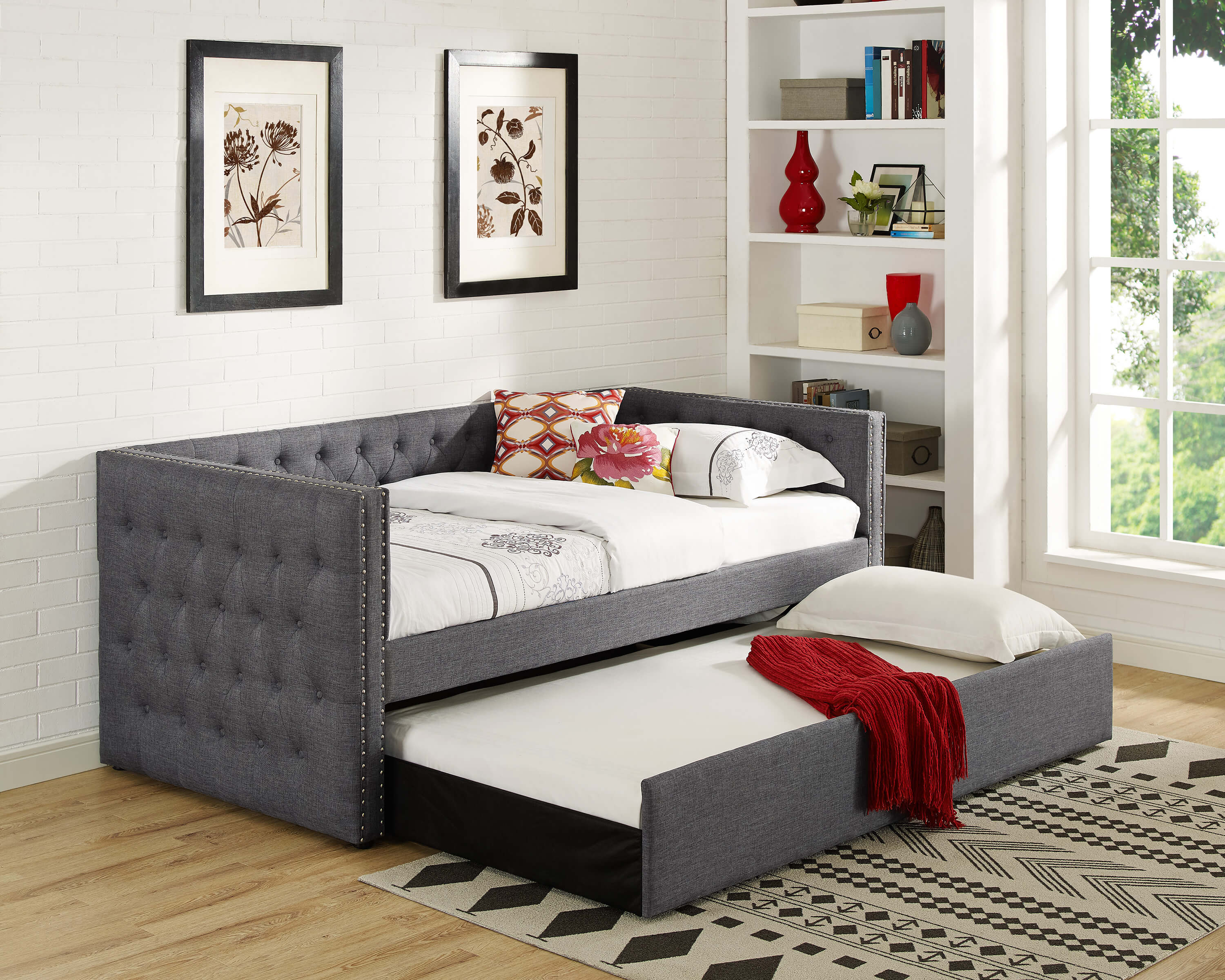 Grey Tufted Trina Daybed With Trundle Urban Furniture Outlet