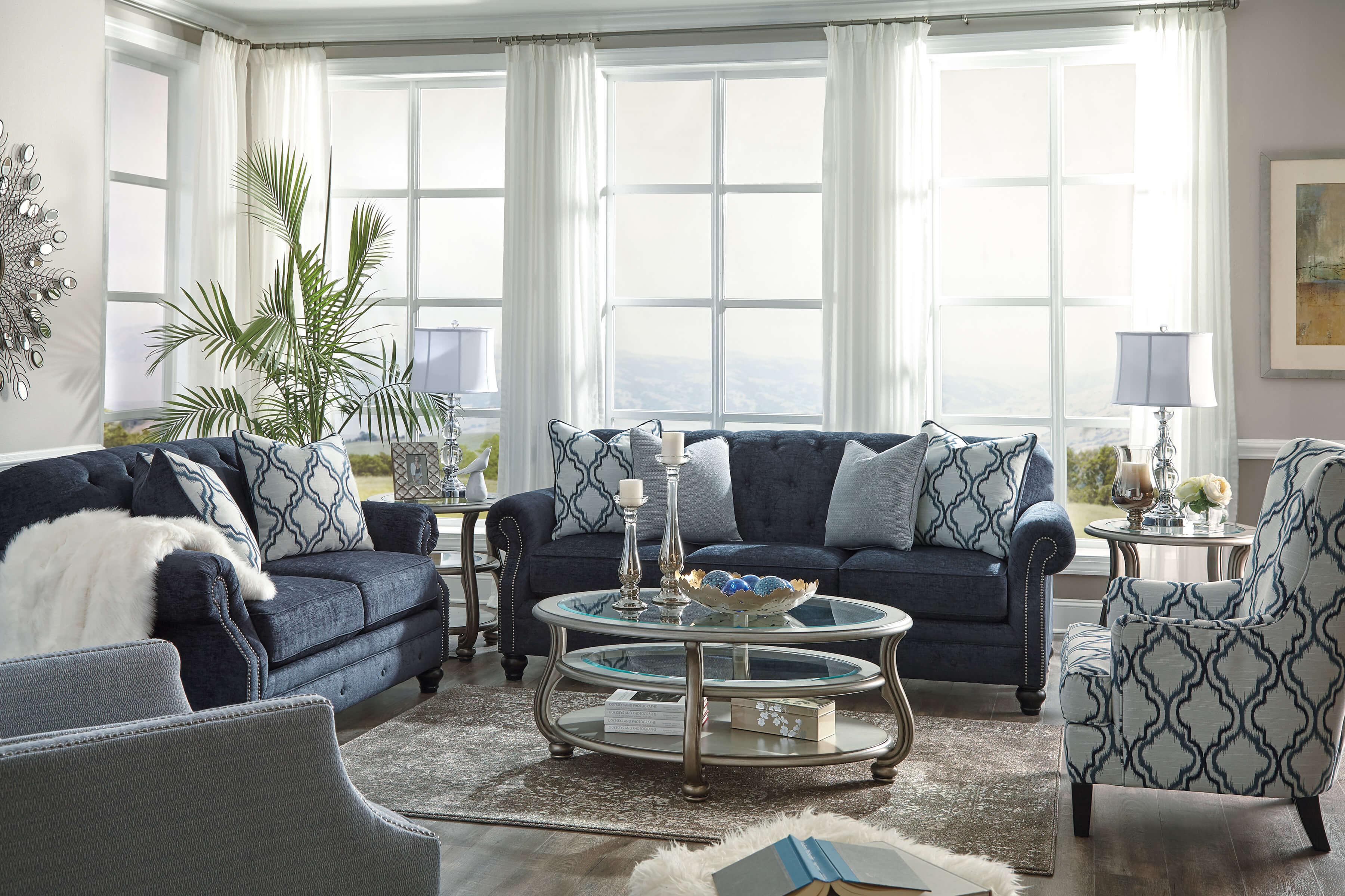 71304 LaVernia Chesterfied Navy Blue Sofa and Loveseat