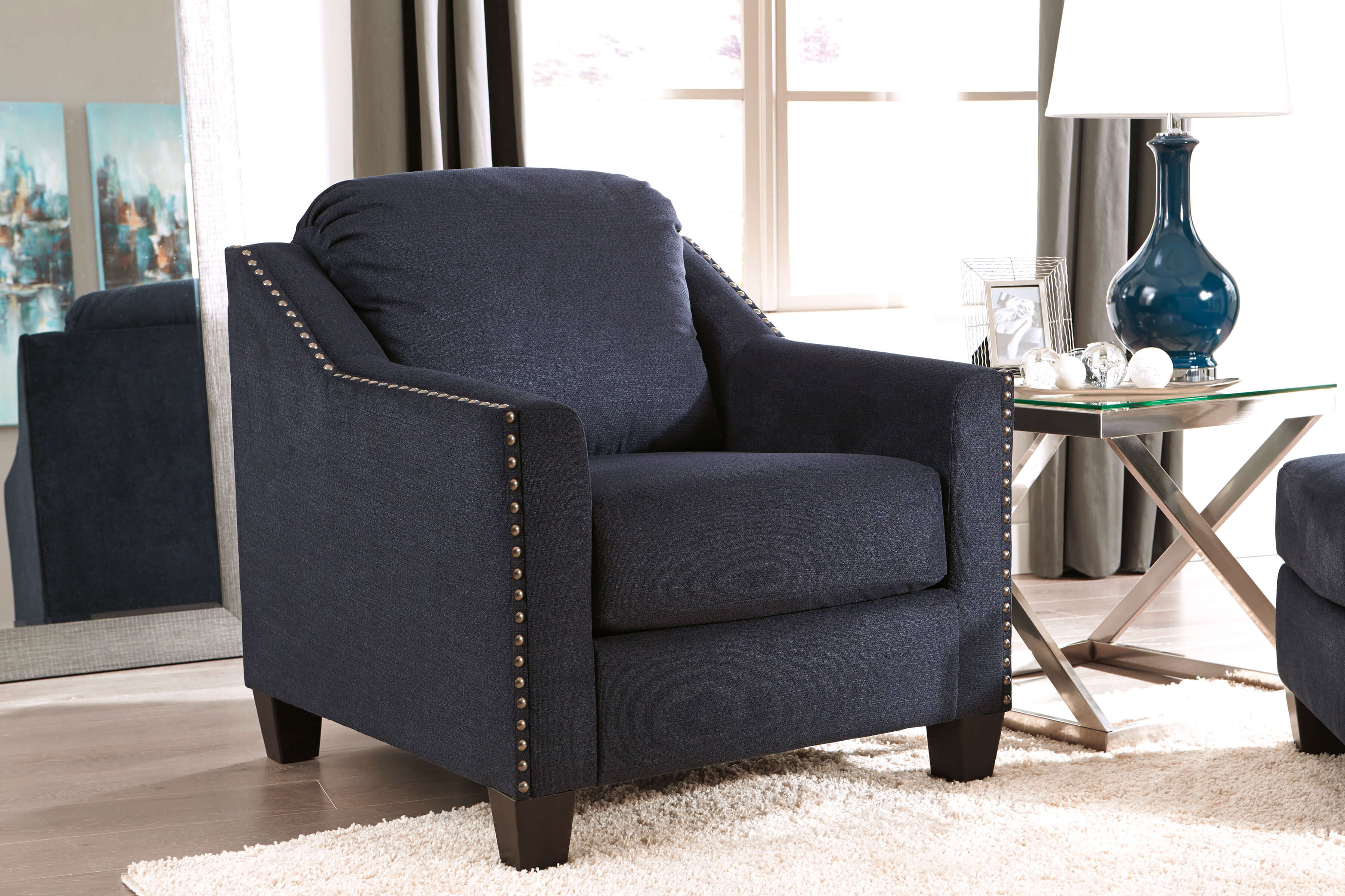 Creeal Heights Midnight Blue Sofa And Loveseat Living