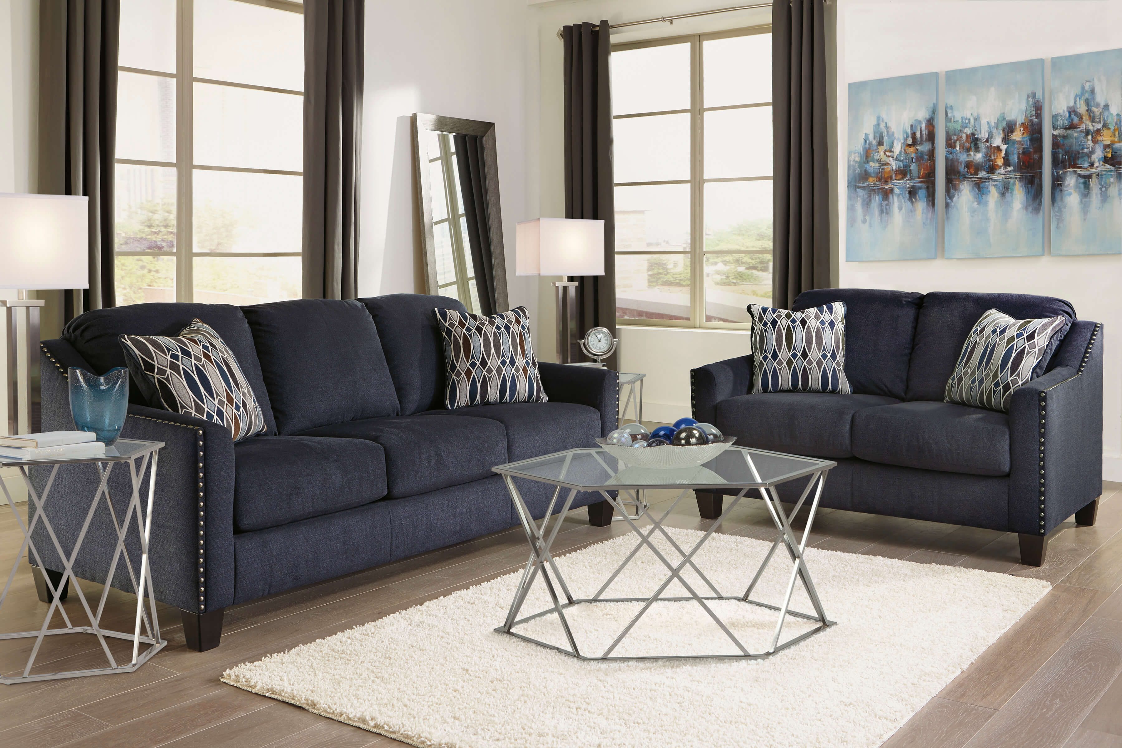 80202 Creeal Heights Midnight Blue Sofa and Loveseat
