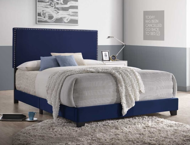 Erin Navy Nail Head Bed