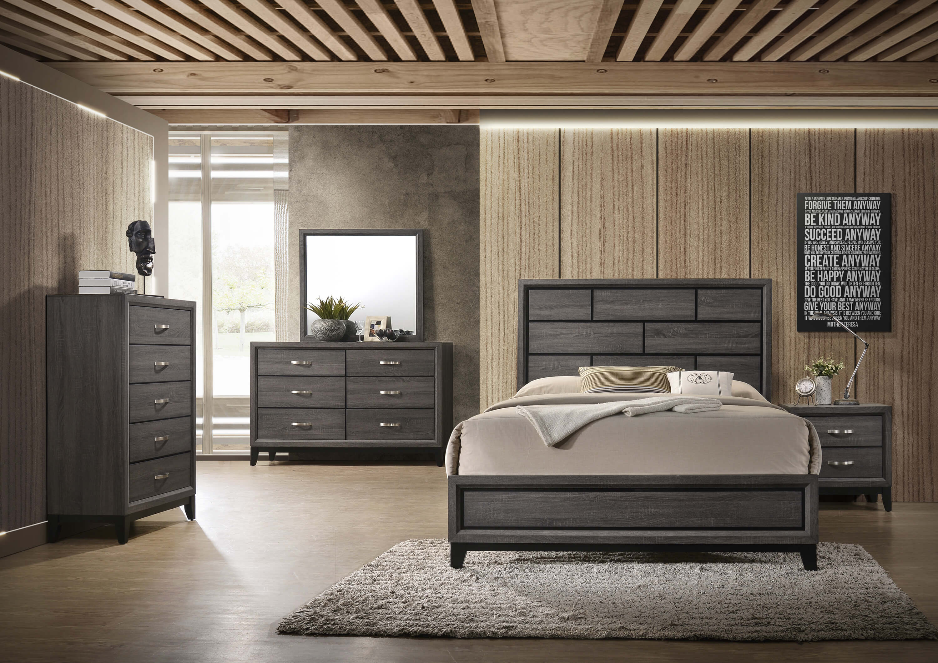 akerson grey bedroom set - Grey Bedroom Set