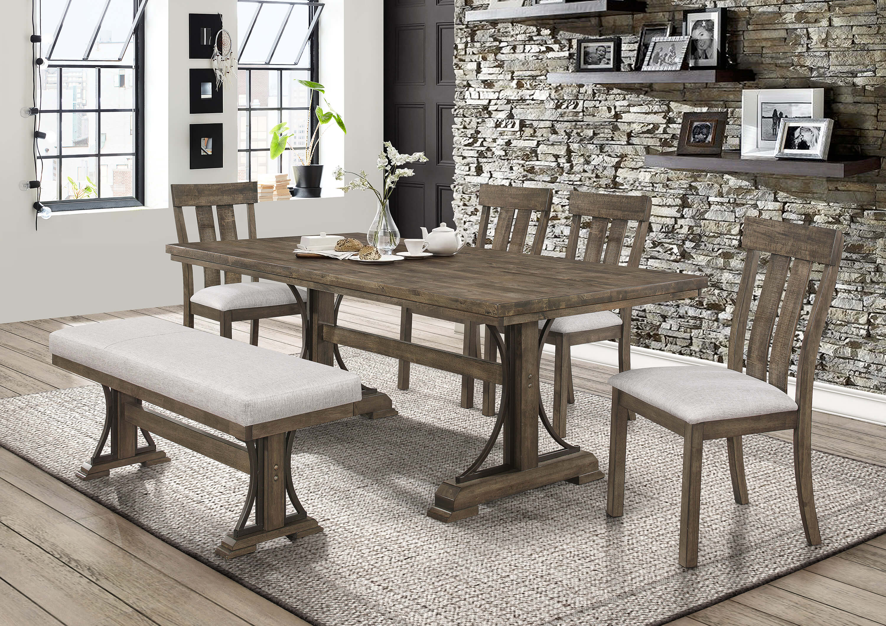 Quincy Dining Set With Bench