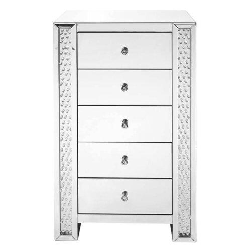 mirrored 5 drawer chest