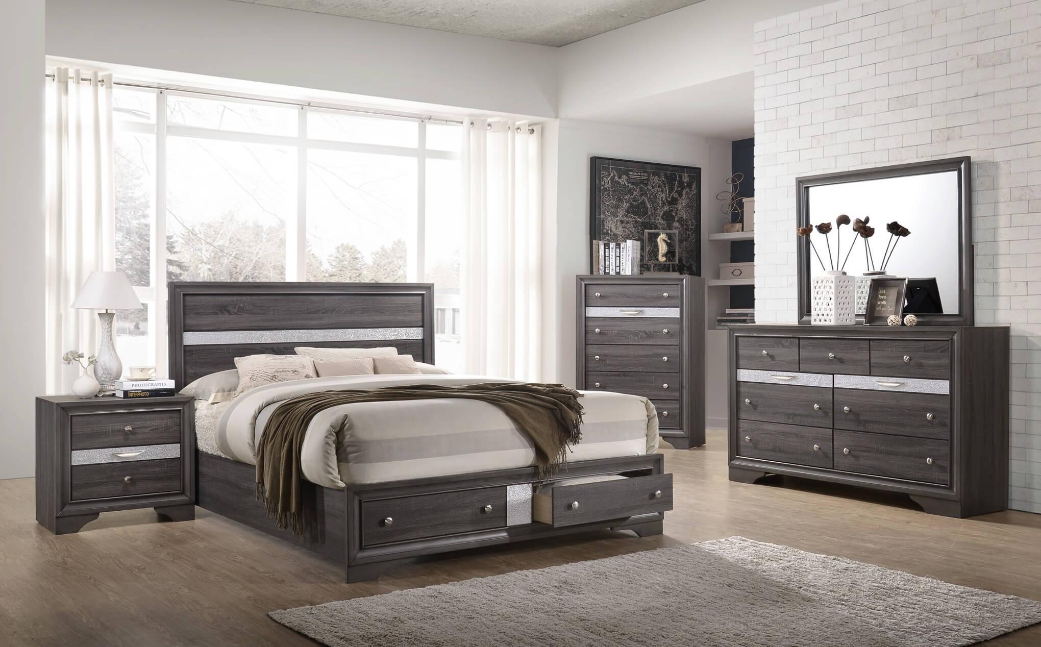 Regata Grey Storage Bedroom Set Urban Furniture Outlet