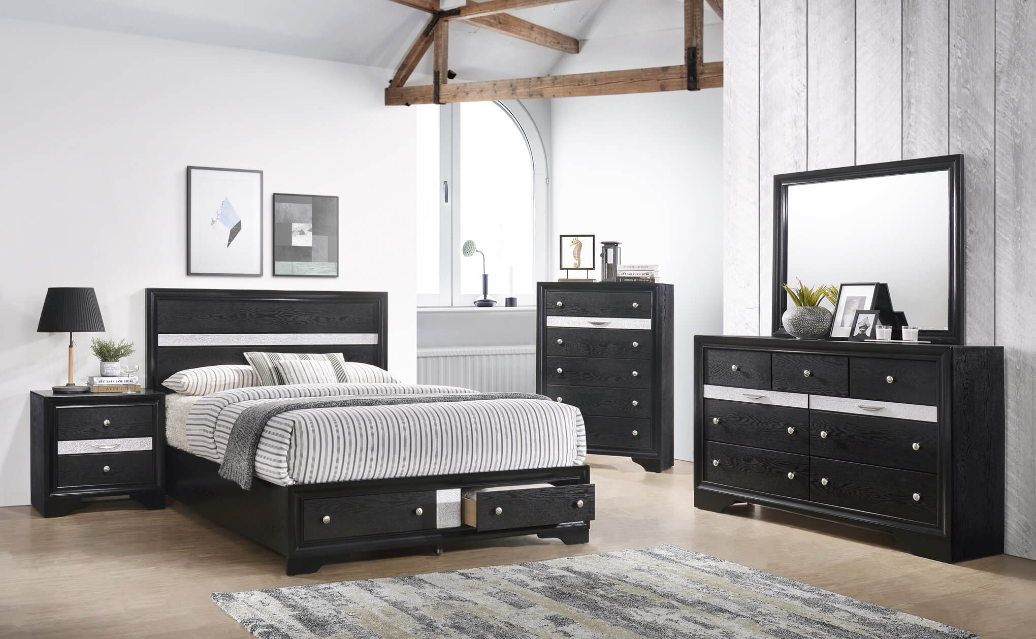 B4670 Regata Black Storage Bedroom Set