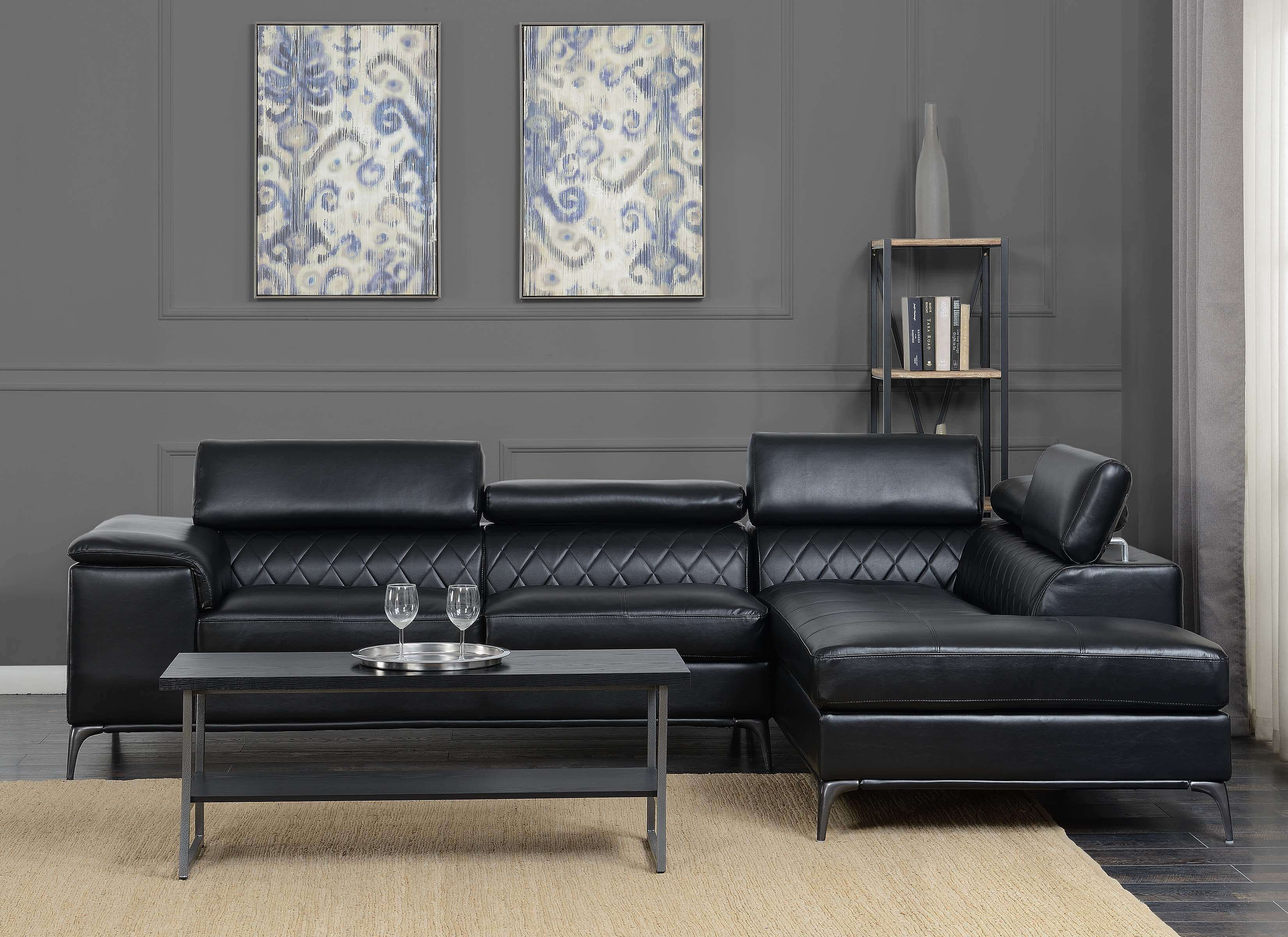Worthington Black Modern Sectional Discontinued