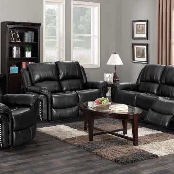 Blake Black Nailhead Reclining Sofa and Loveseat