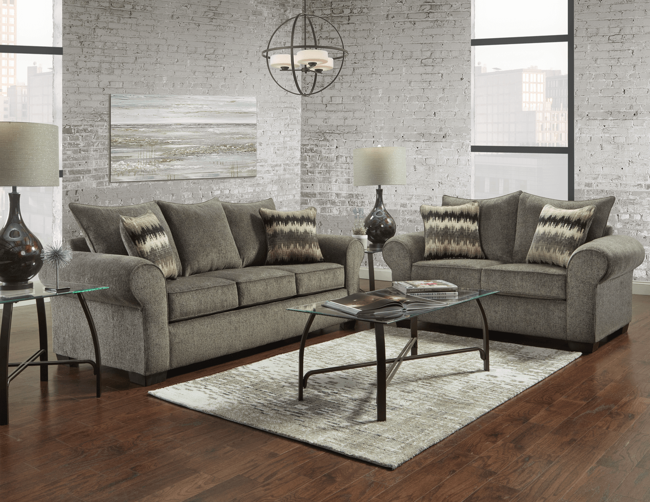 Camero Pewter Sofa And Loveseat Fabric Living Room Sets
