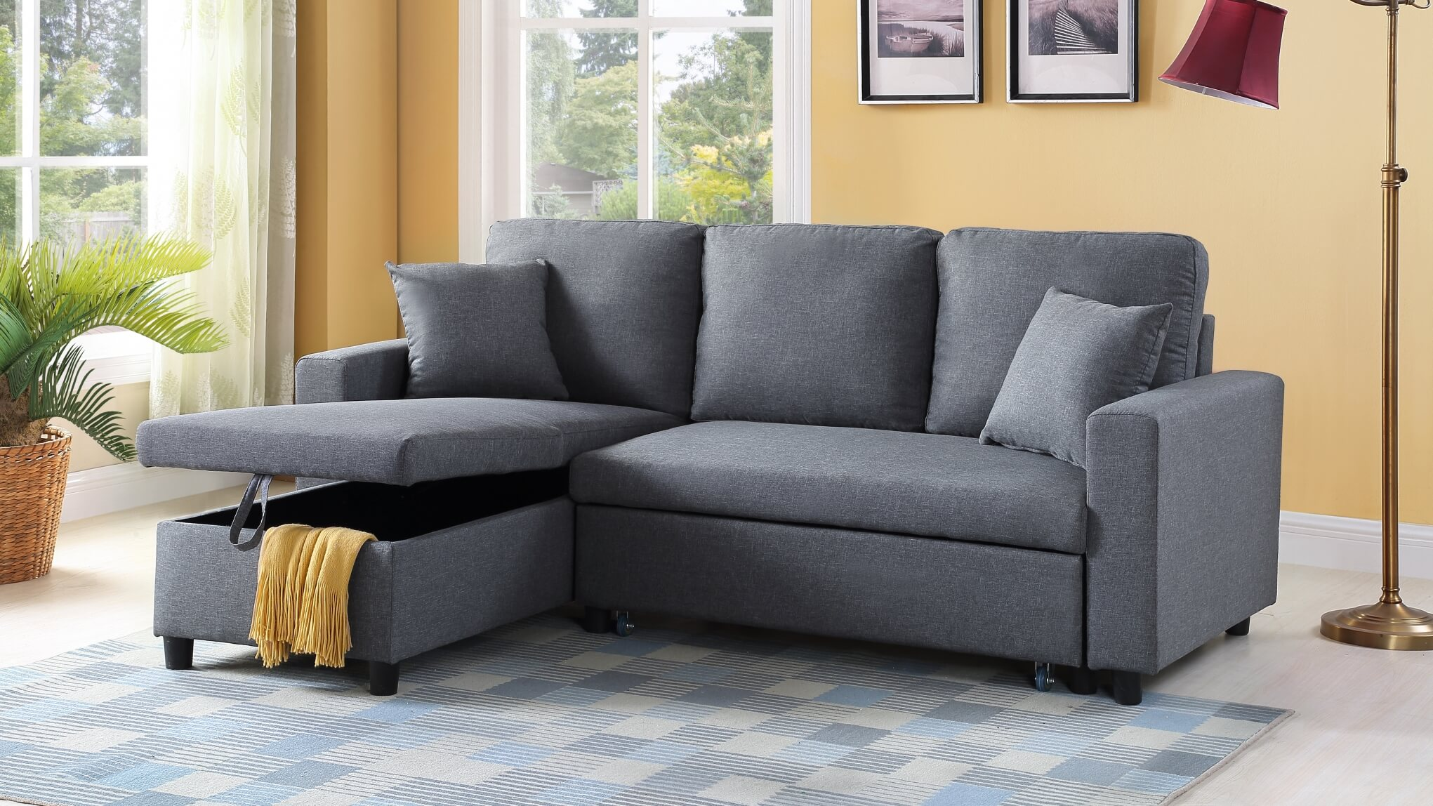 U312 Grey Apartment Sleeper Sectional-DISCONTINUED