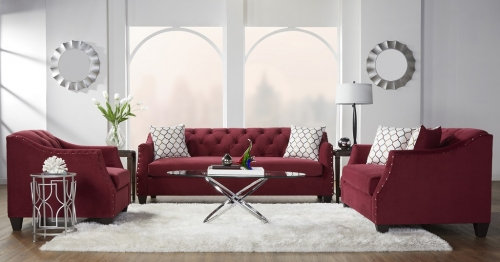16150 Bing Cherry Red Tufted Sofa and Loveseat