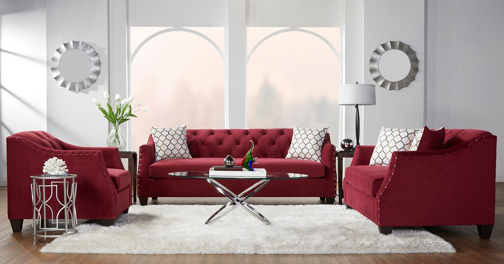 Bing Cherry Red Tufted Sofa and Loveseat | Fabric Living Room Sets