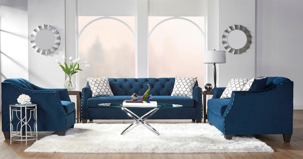 Bing Indigo Tufted Sofa And Loveseat, Serta Sofa And Loveseat