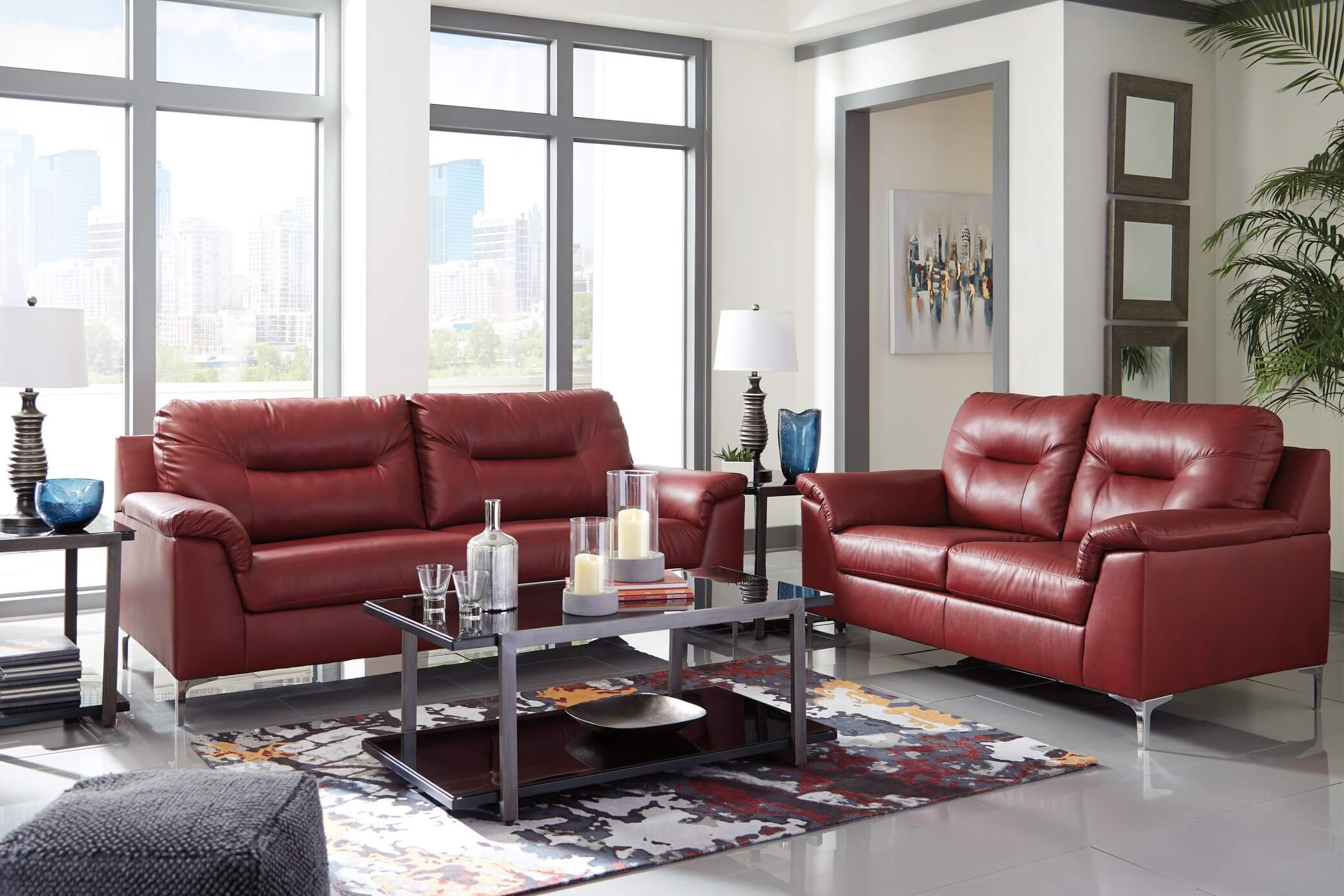 Tensas Crimson Contemporary Living Room Set | Urban Furniture Outlet
