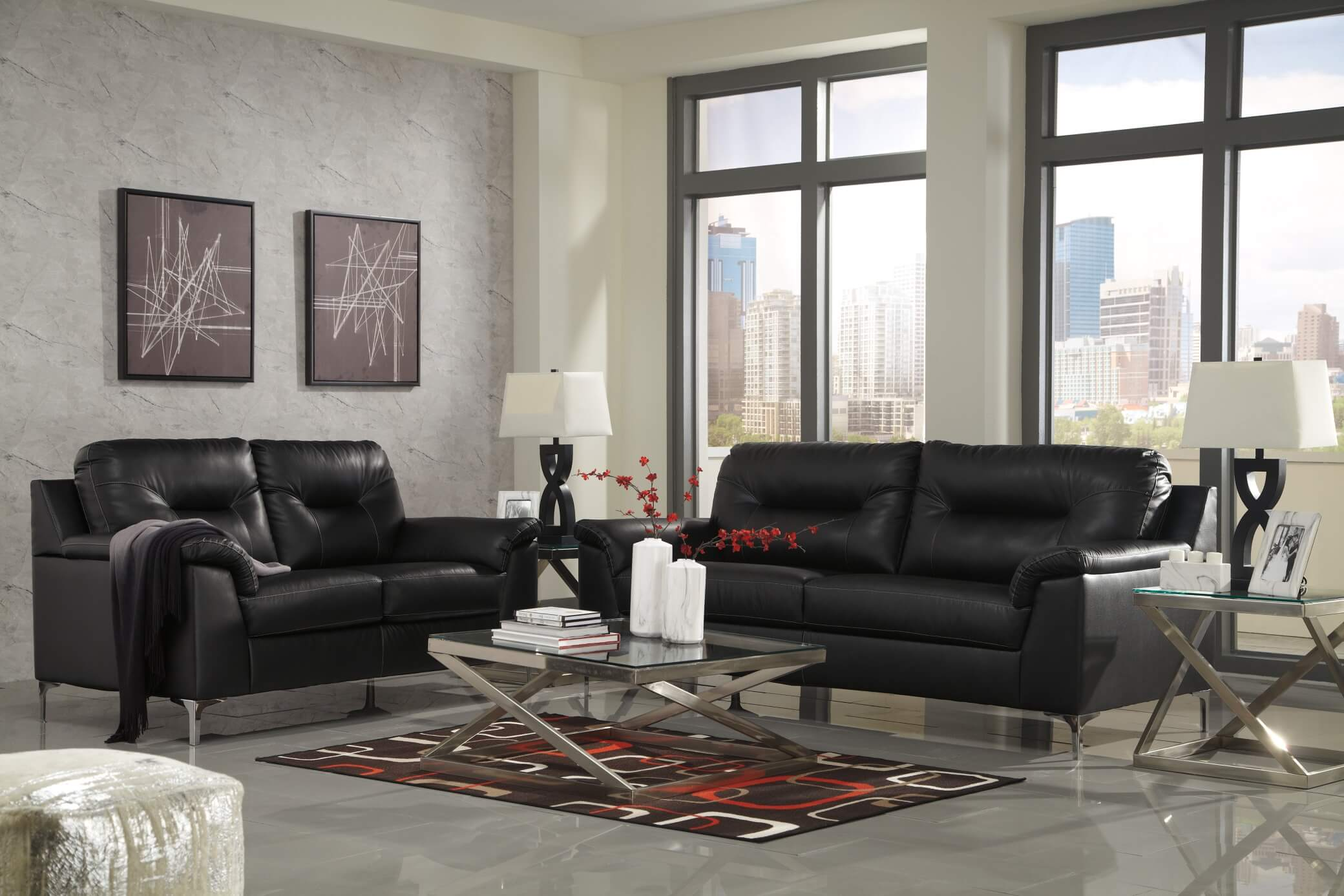 39604 Tensas Black Contemporary Living Room Set