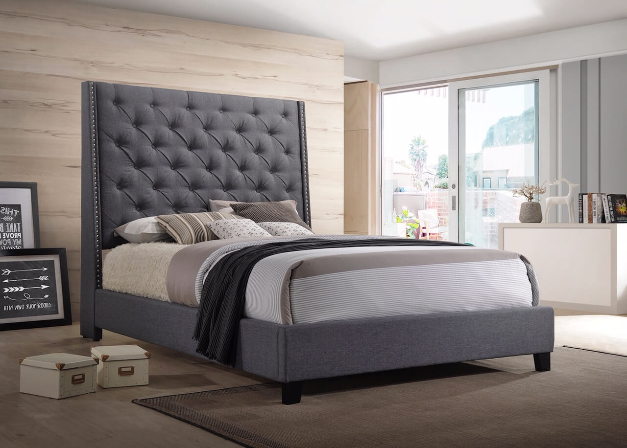 Chantilly Grey Upholstered Bed Urban Furniture Outlet