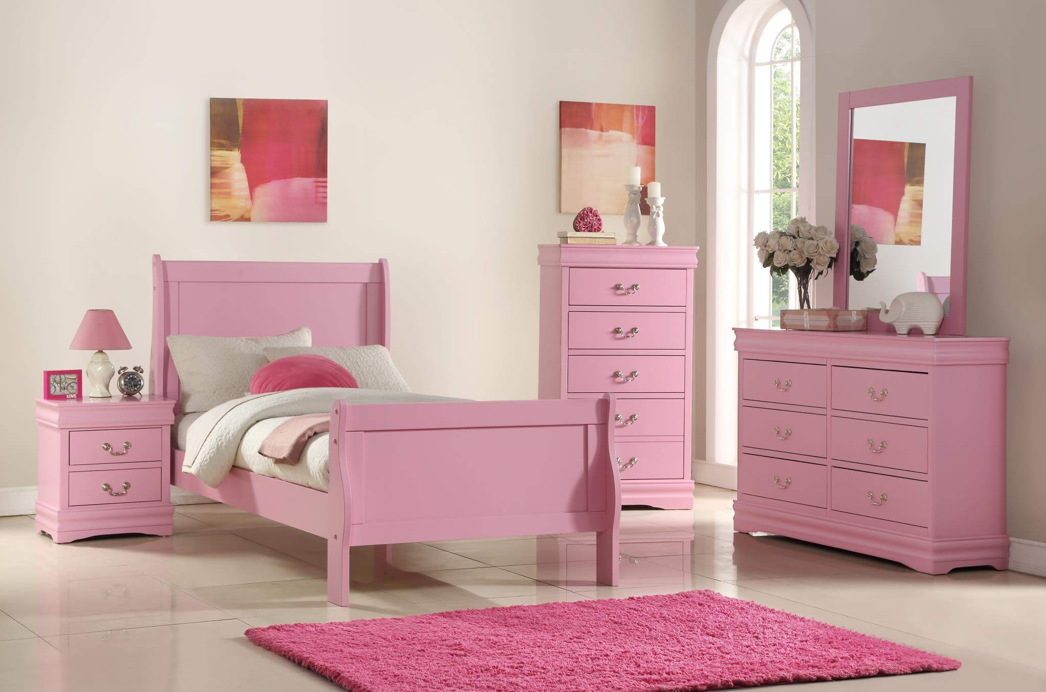B291 Pink Louis Phillip Bedroom Set