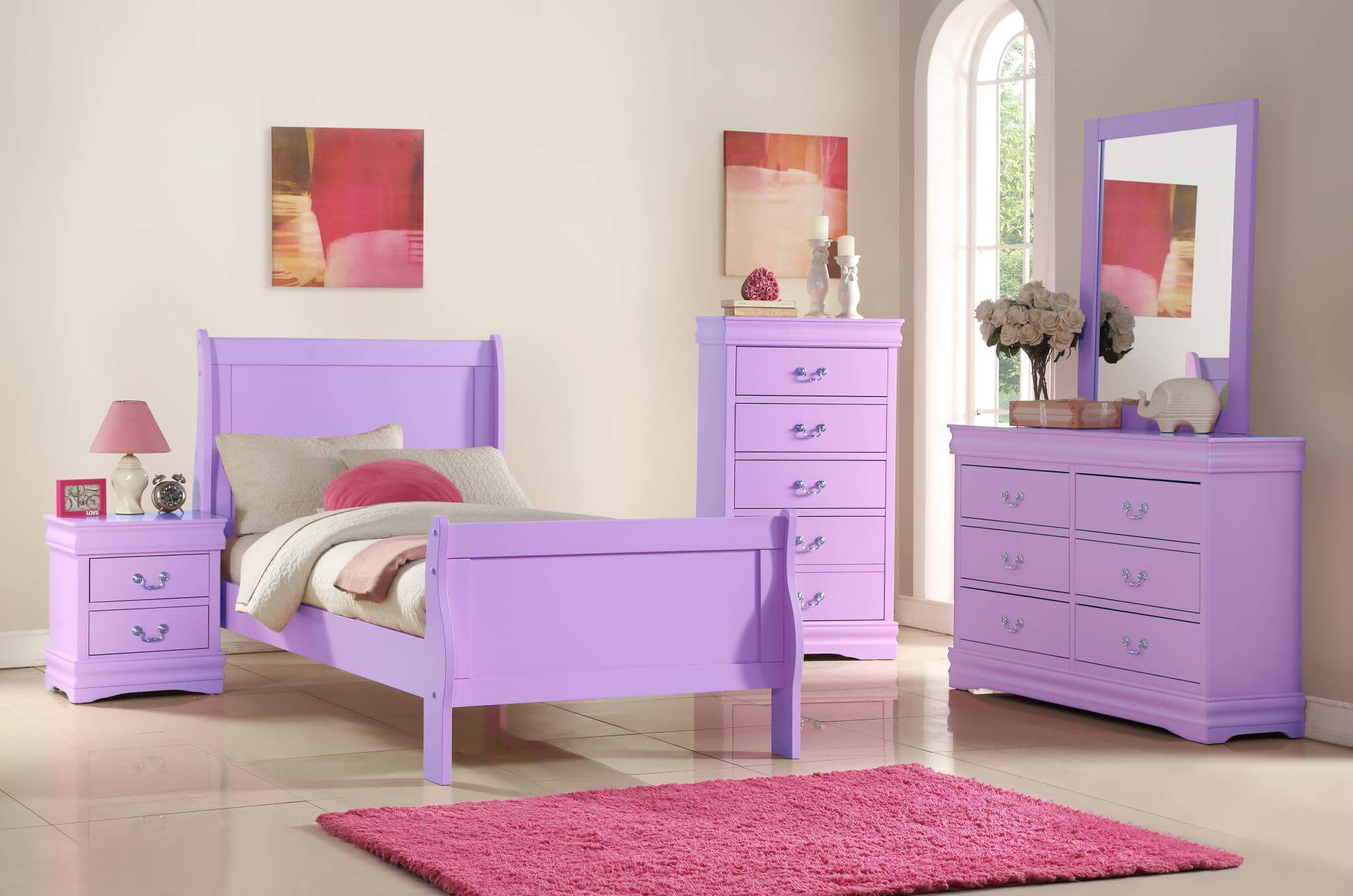 B292 Lavender Louis Phillip Bedroom Set