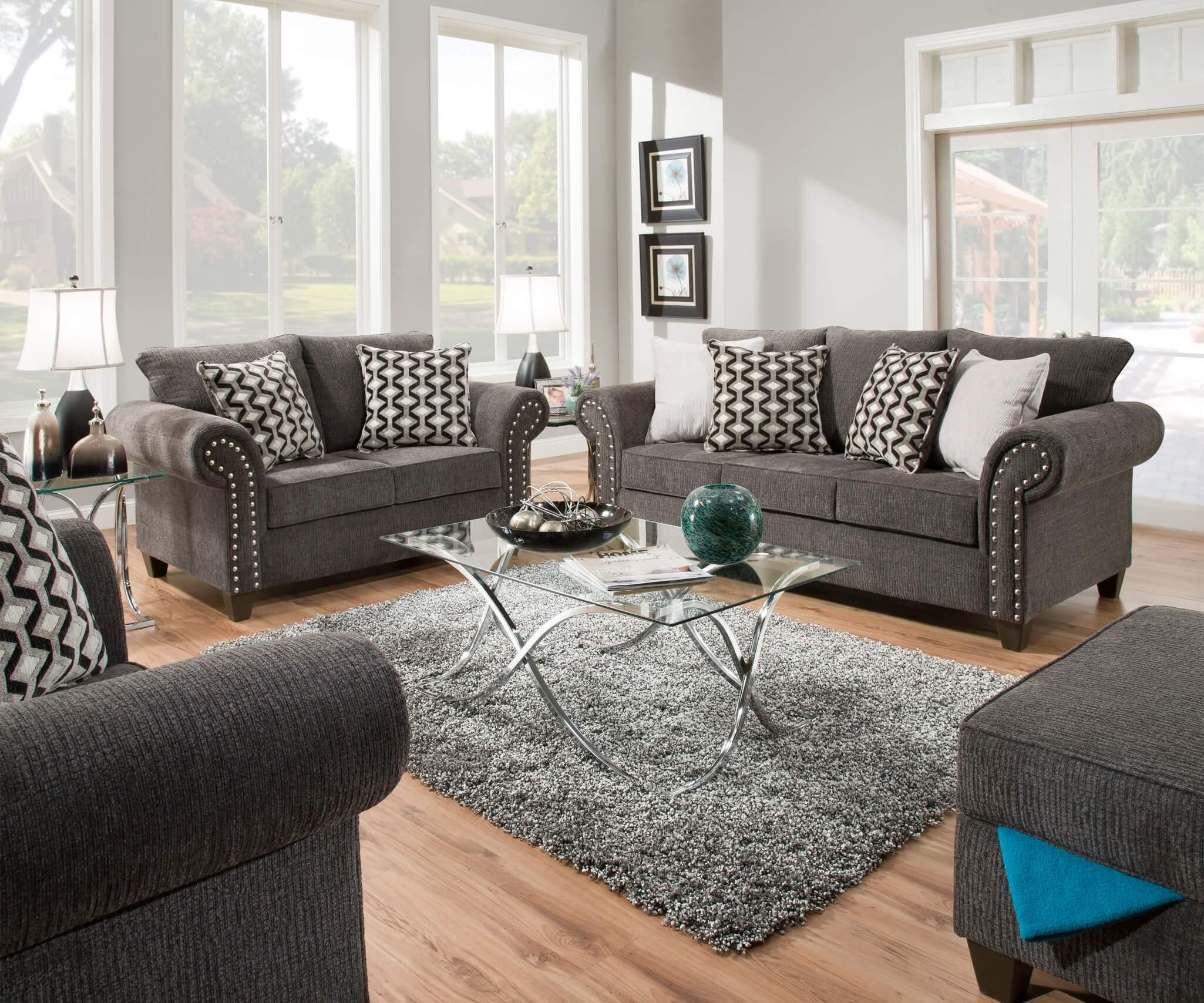 Reed Charcoal Living Room Set Fabric Living Room Sets