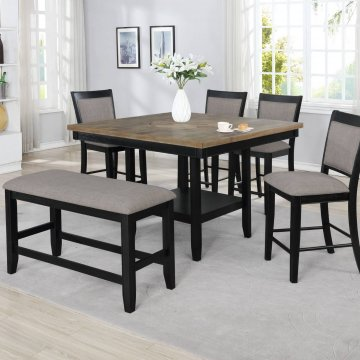 Fulton Black Counter Height Set with Lazy Susan