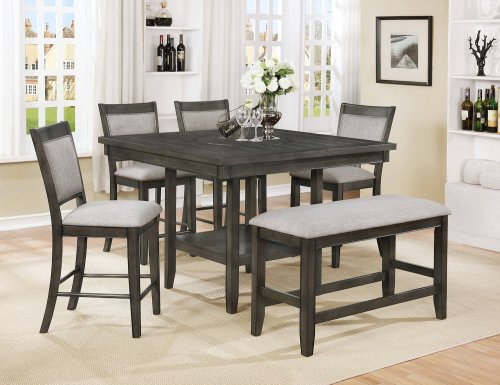 Fulton Grey Counter Height Set with Lazy Susan
