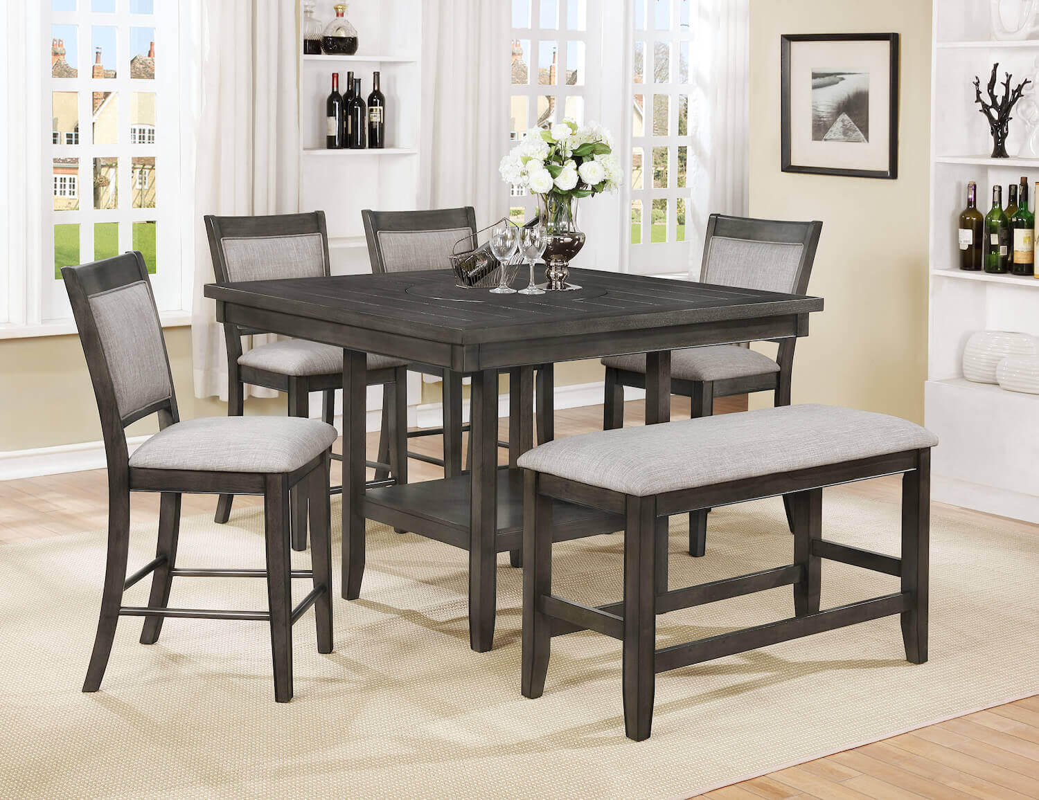 Superbe Fulton Grey Counter Height Set With Lazy Susan