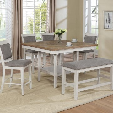 Fulton White Counter Height Set with Lazy Susan