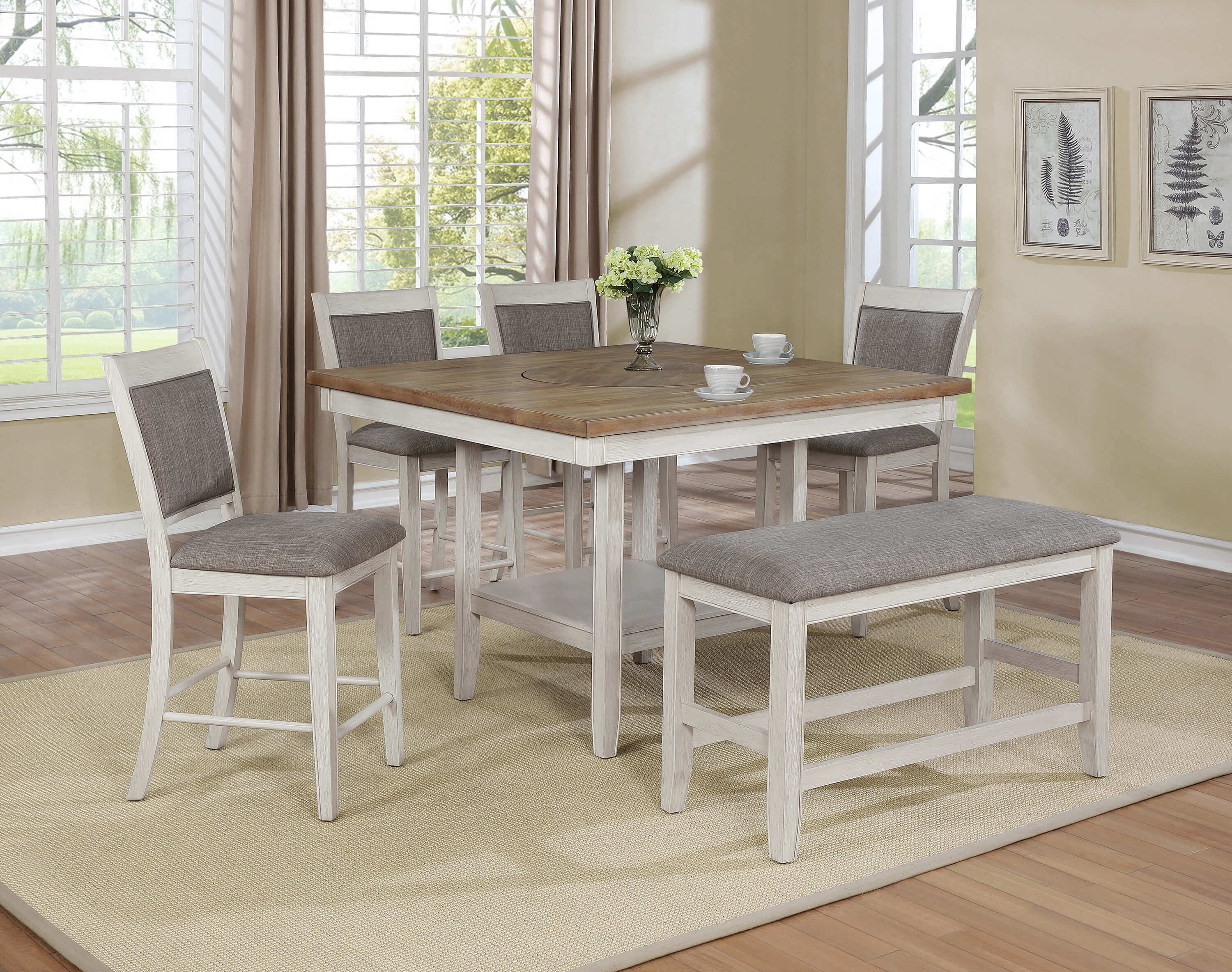 2727 Fulton White Counter Height Set With Lazy Susan