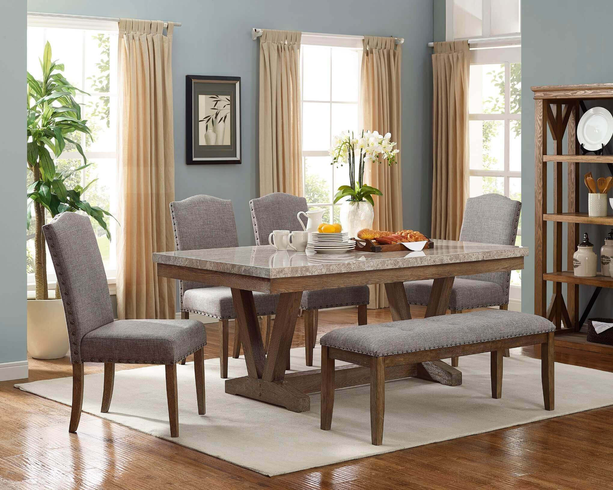 1211 Vesper Marble Dining Room Set