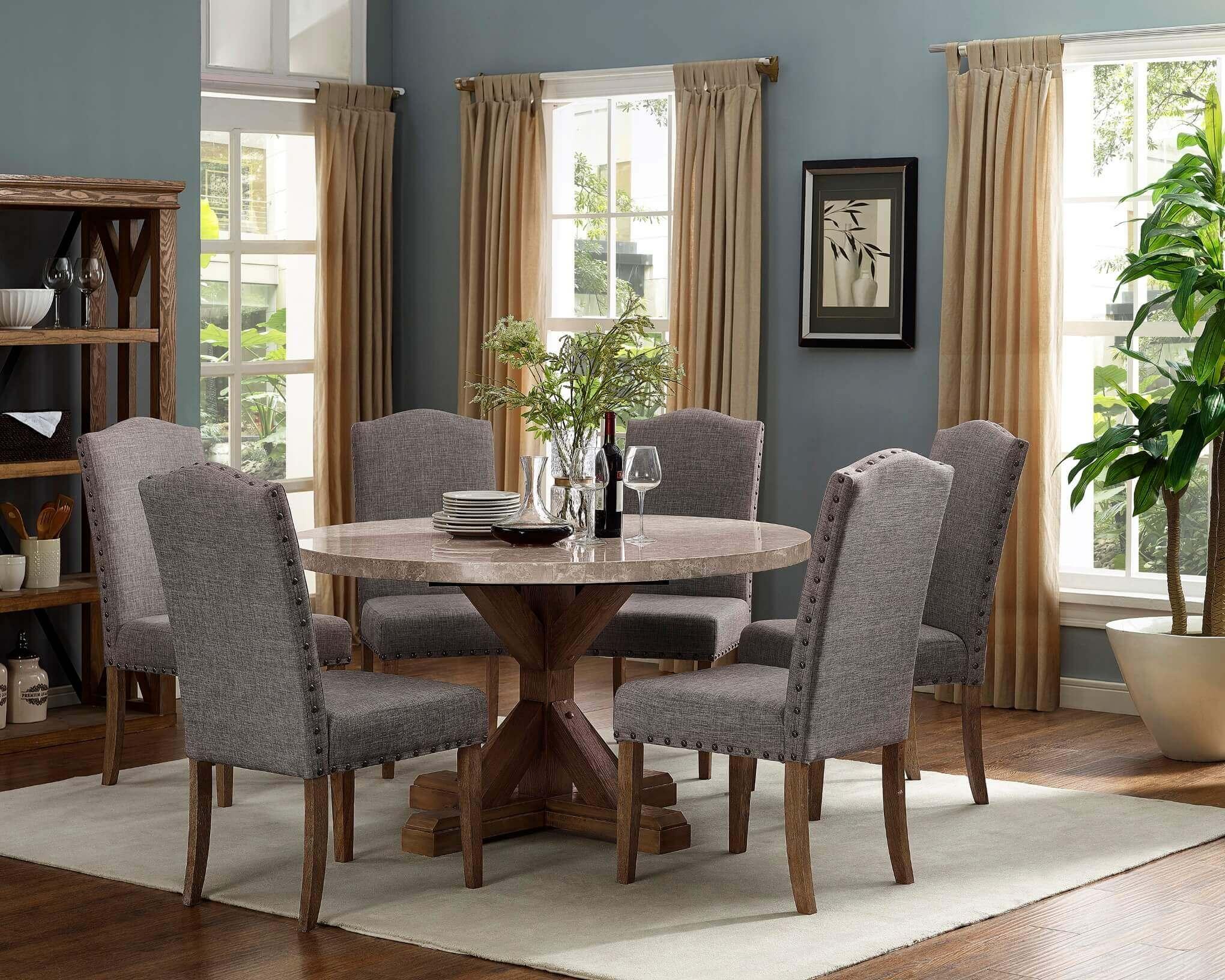 1211 Vesper Round Marble Dining Room Set