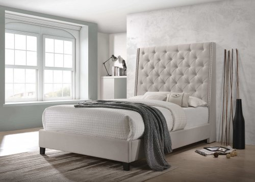 Chantilly Khaki Upholstered Bed