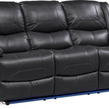 Tron Black Power Reclining Set with LED Lights
