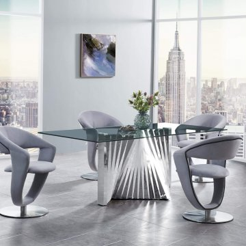 Chrome/Grey Dining Room Set