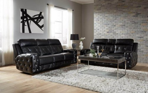 Kapow Black Power Reclining Sofa and Loveseat