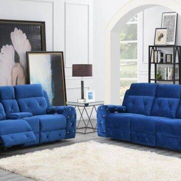 Kapow Blue Power Reclining Sofa and Loveseat