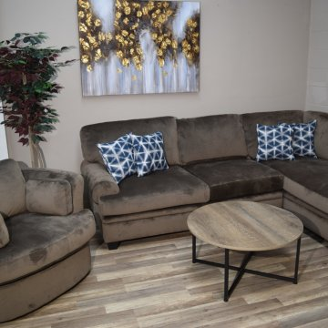 Cordelle Chocolate Sectional and Round Chair