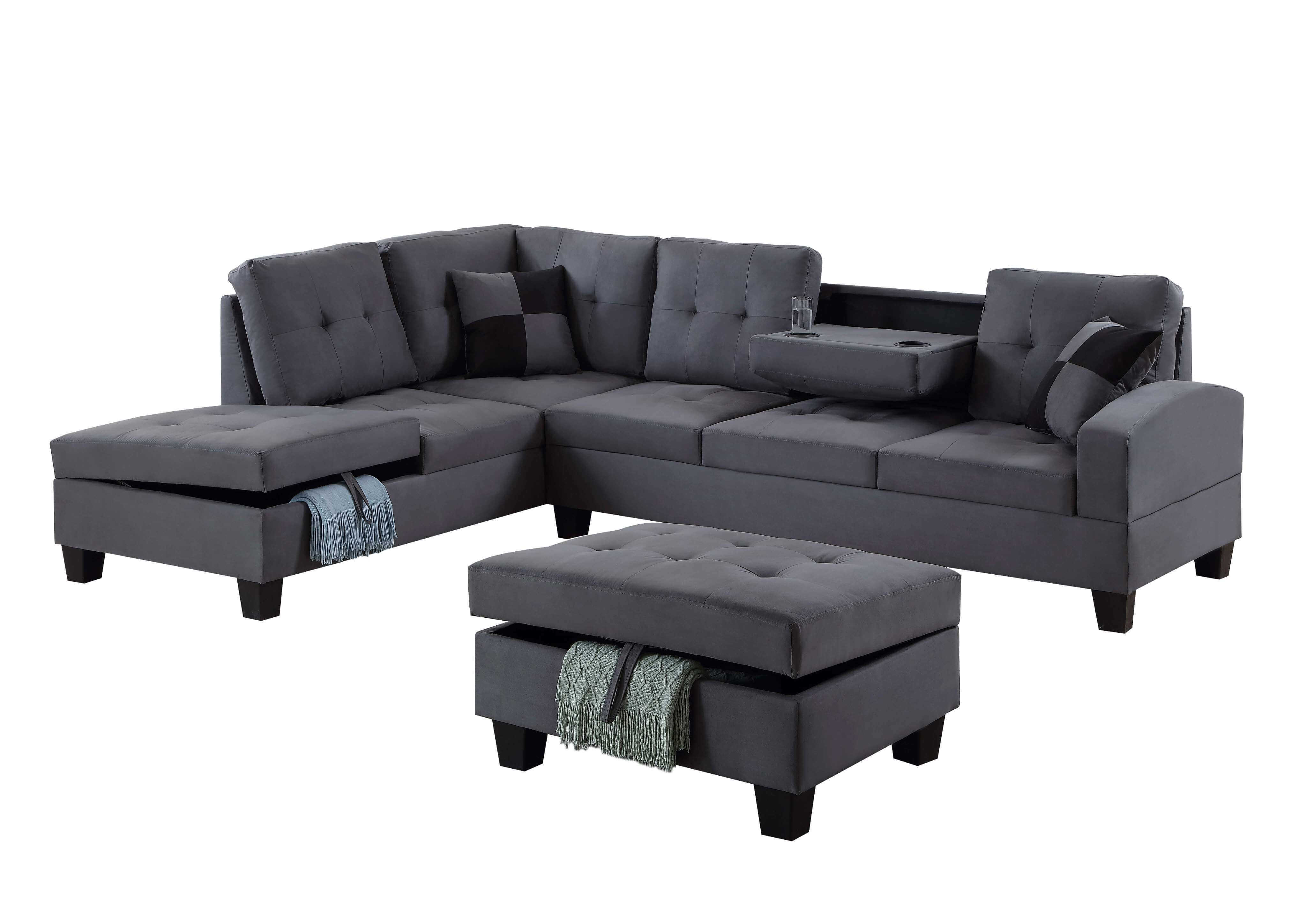 Terrific U5462 Grey Sectional W Free Ottoman Gmtry Best Dining Table And Chair Ideas Images Gmtryco