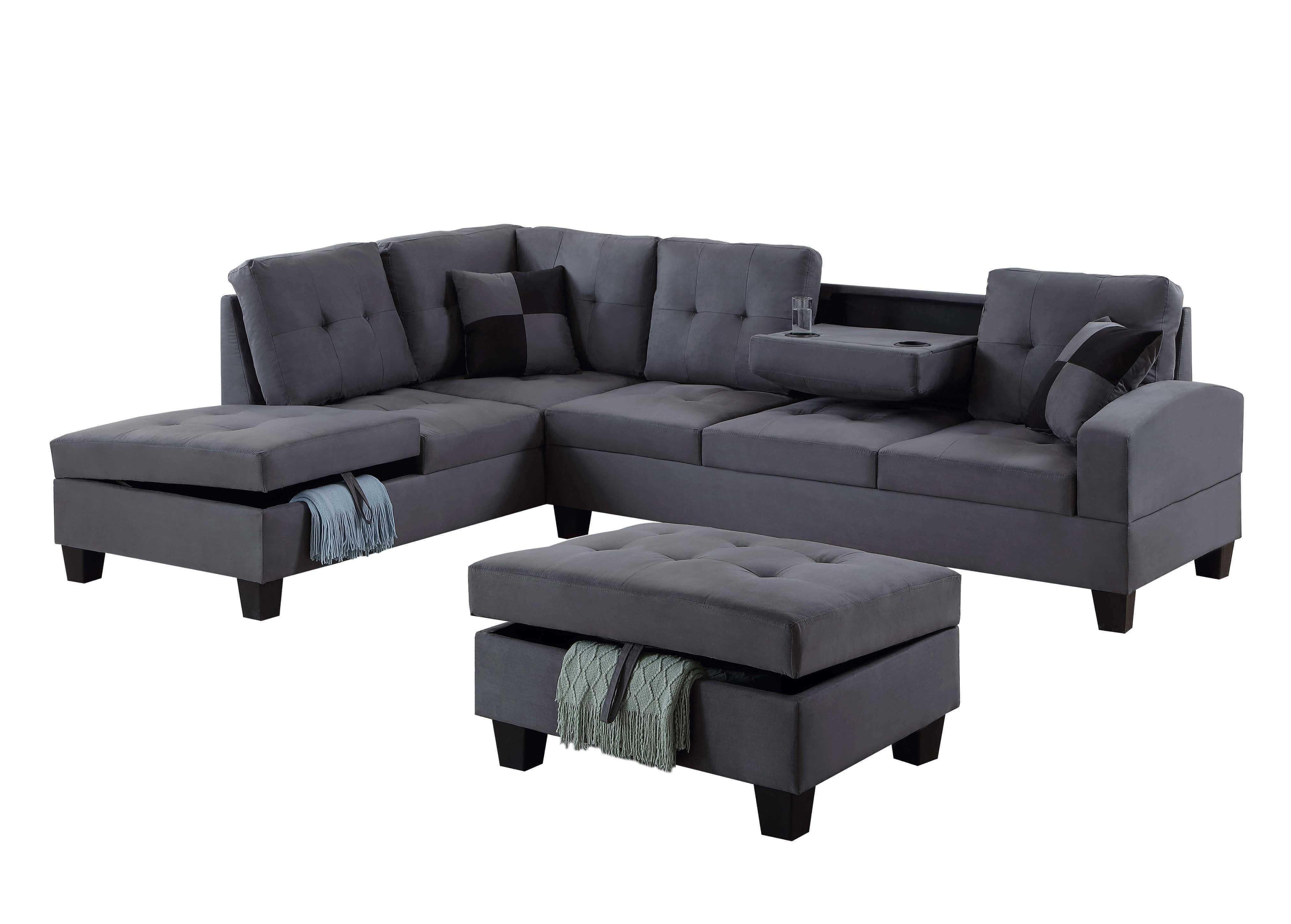 Fantastic U5462 Grey Sectional W Free Ottoman Customarchery Wood Chair Design Ideas Customarcherynet