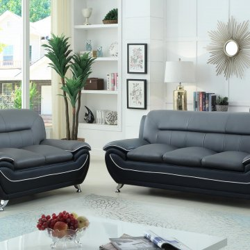 Grey on Black Living Room Set