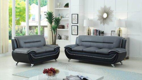 Grey on Black Living Room Set