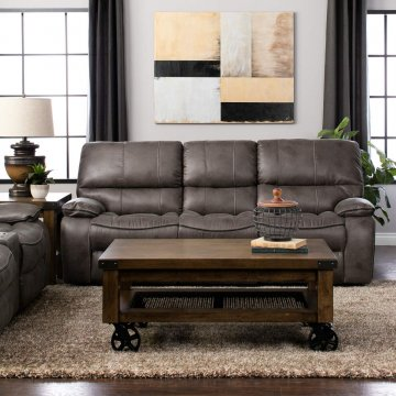 highlander gunmetal reclining sofa