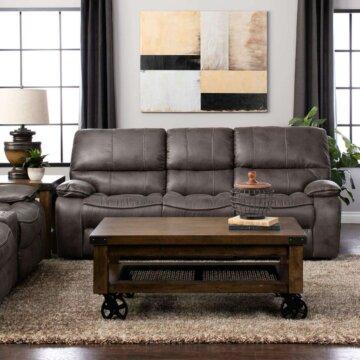 highlander gunmetal reclining sofa