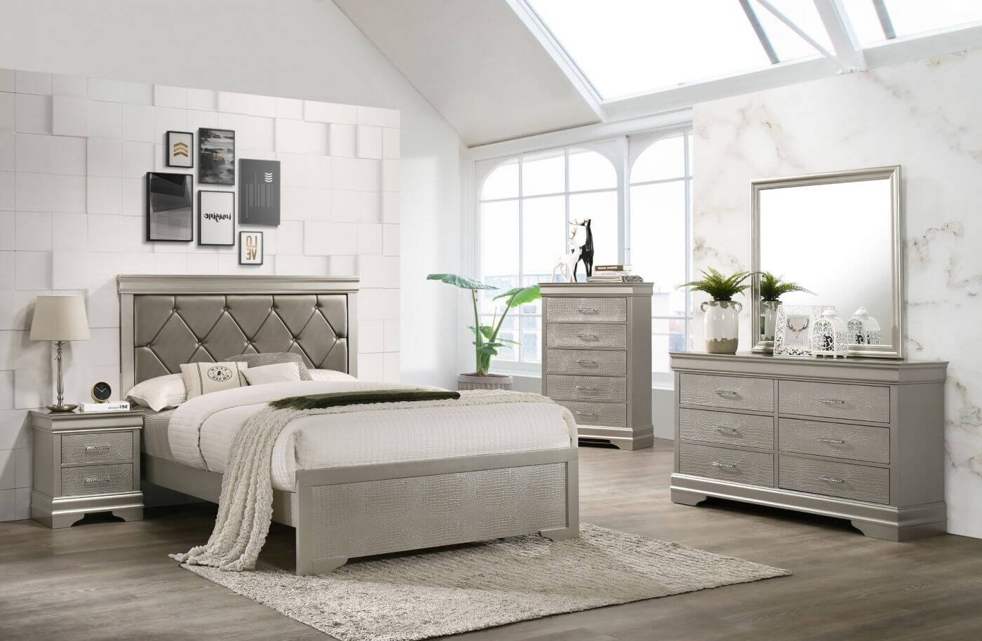 B4 Silver Amailia Bedroom Set by Crown Mark