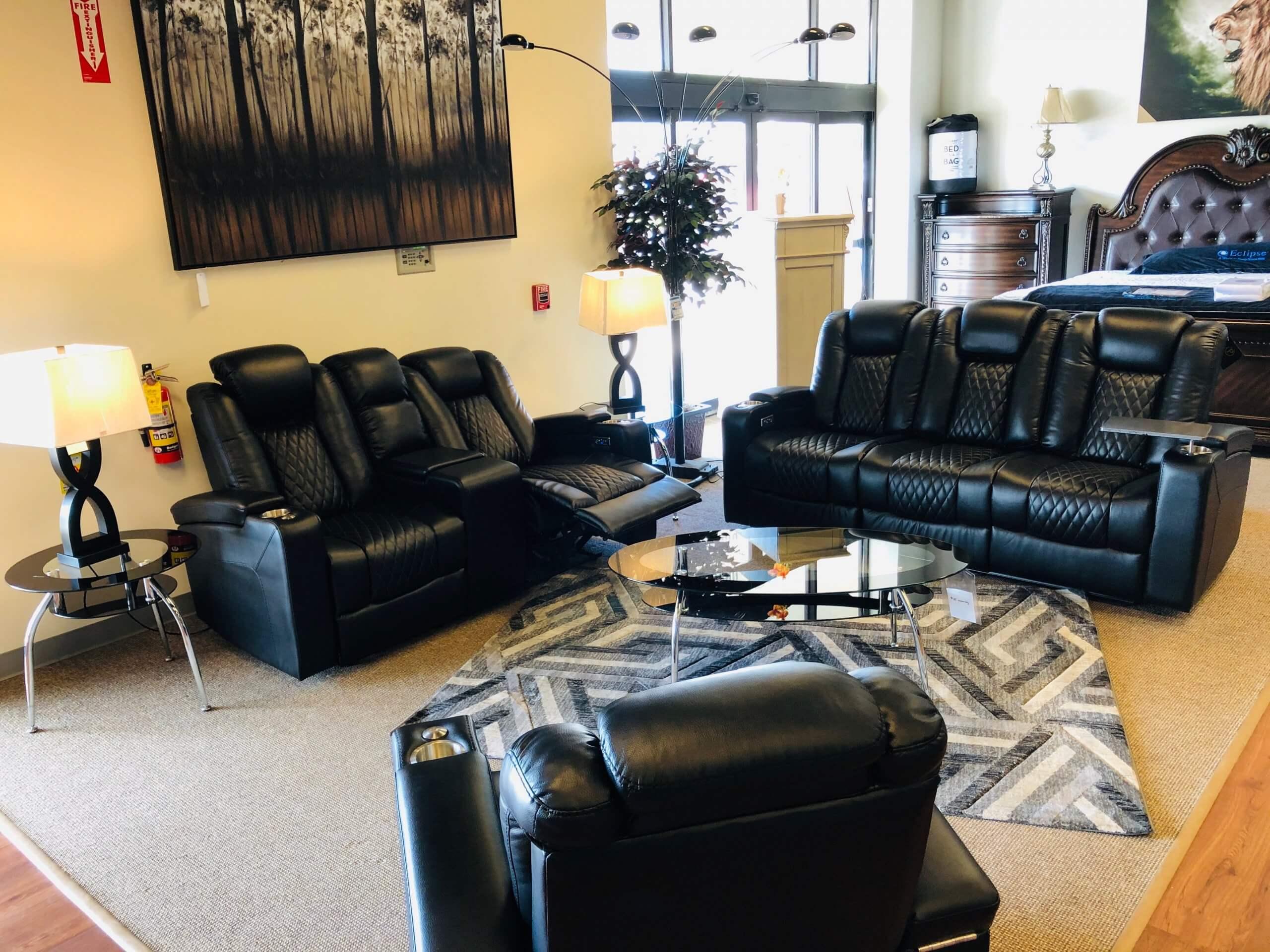 Terminator Black Reclining Sofa