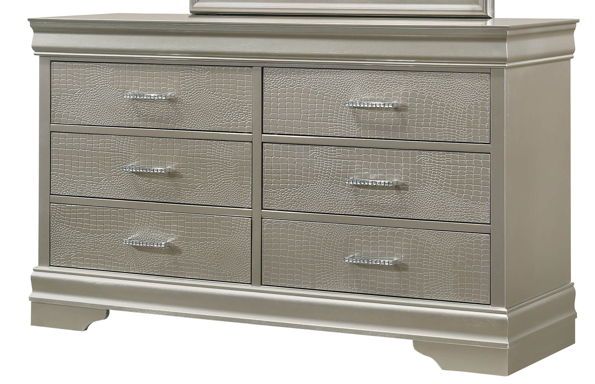 amalia silver louis philip dresser by crown mark bedroom furniture b6910 1 amalia silver 6 drawer louis philip dresser by crown mark