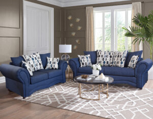 Oscar Navy Sofa and Loveseat